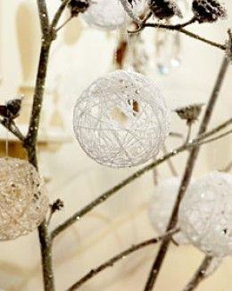 Easy and beautiful ornament to make.  Glue strings around a balloon and let it dry.