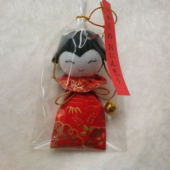 SALE 50% OFF Handmade hanging girl doll red japanese paper by bila