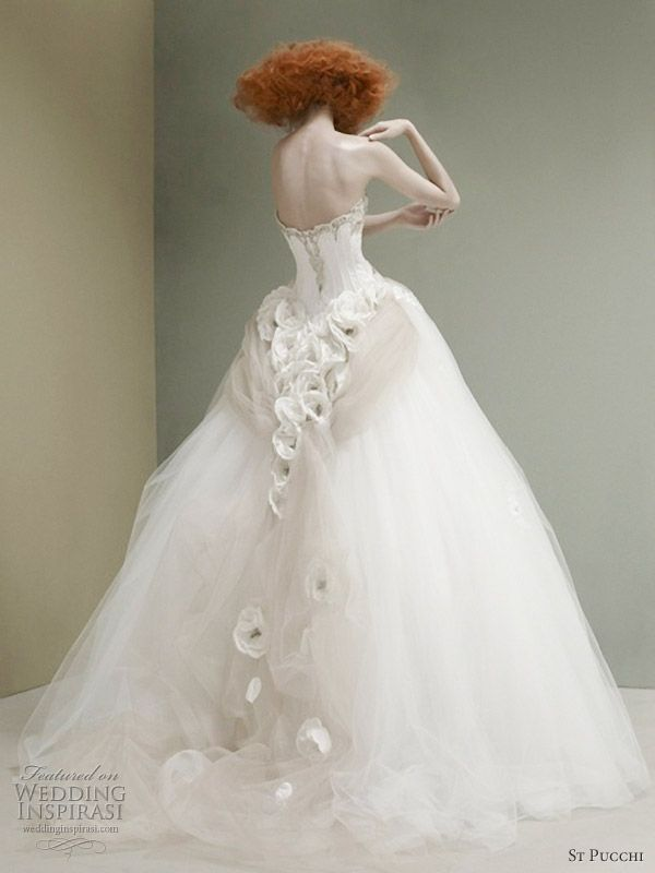 So lovely....Floral detail down back and train of gown.  St. Pucchi, 2012 Coll.