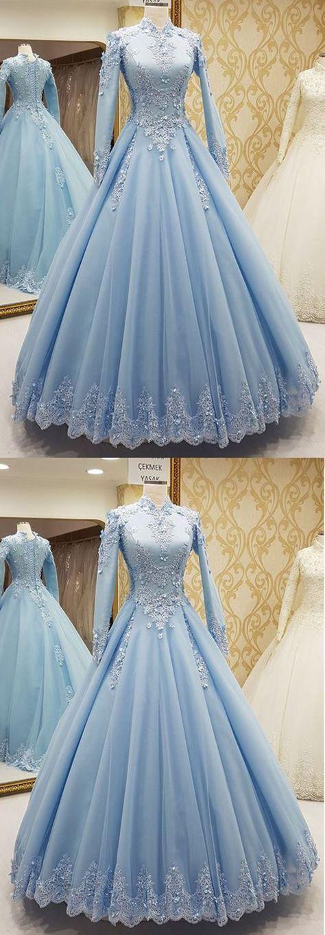 Blauer Tüll Stehkragen passen formelle Abendkleid mit langen Ärmeln   – Engagement