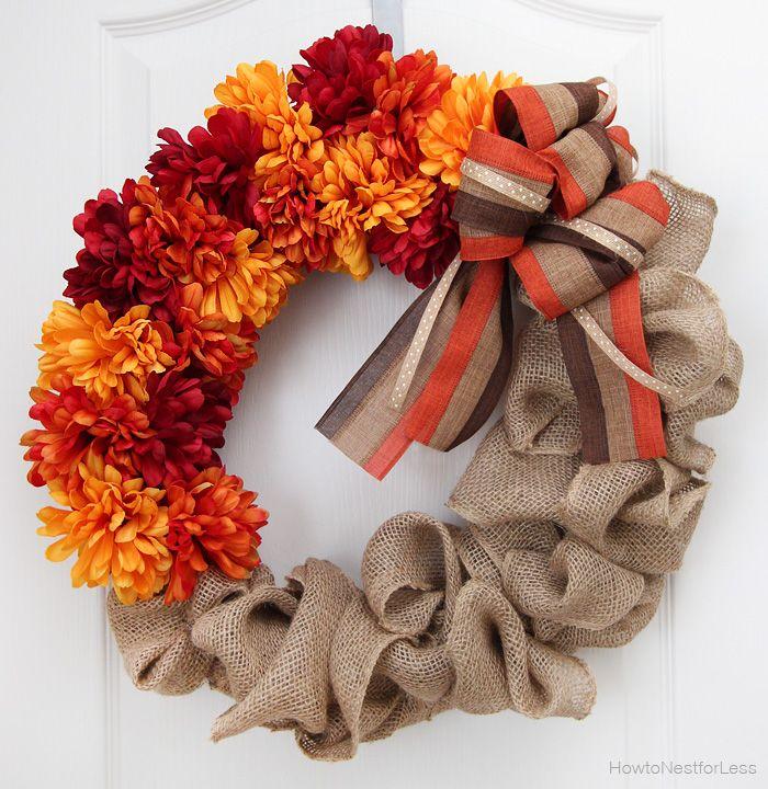 fall flower and burlap wreath