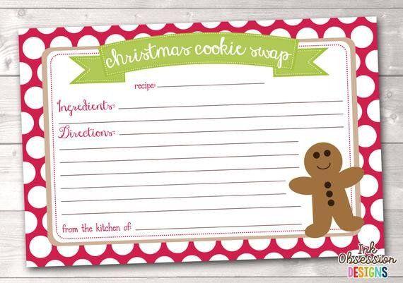 Christmas Recipe Card Template Items Similar To Printable Christmas Cookie Exchange Recipe Cards Template Holiday Recipe Card Christmas Recipe Cards