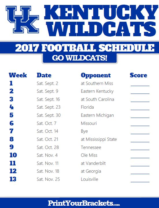 Printable Kentucky Wildcats Football Schedule