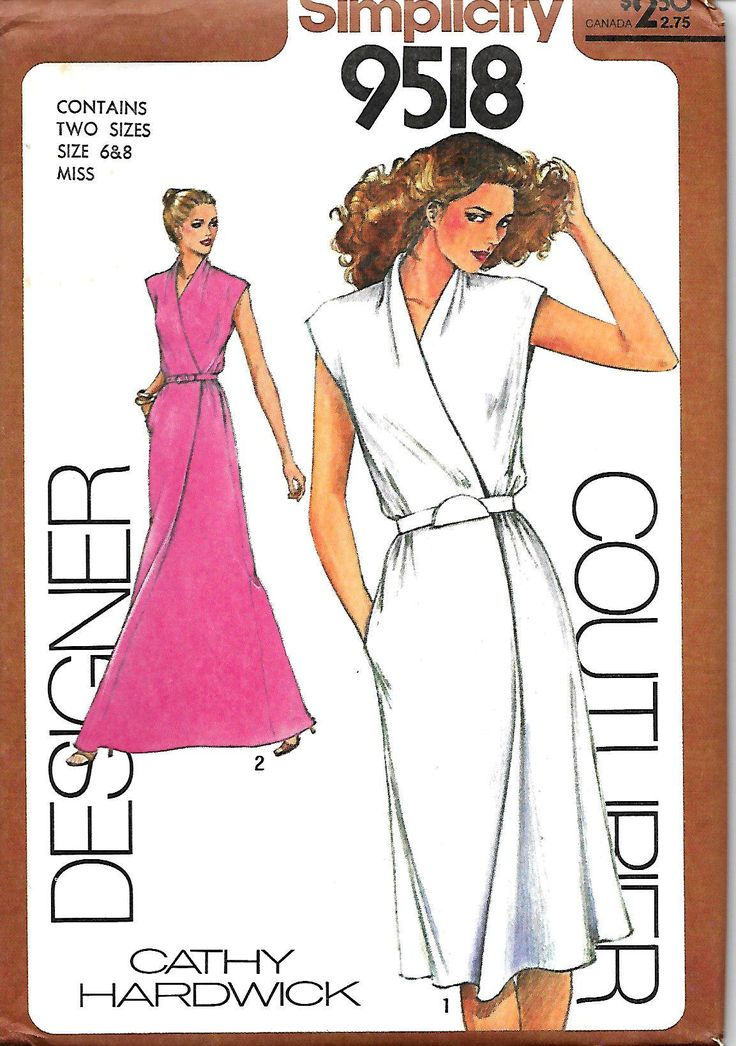 Simplicity 9518 Designer Couturier Pattern, Cathy Hardwick Mock Wrap Dress or Evening Dress, Size 6-8, 10, 12, 14 & 16, UNCUT by DawnsDesignBoutique on Etsy