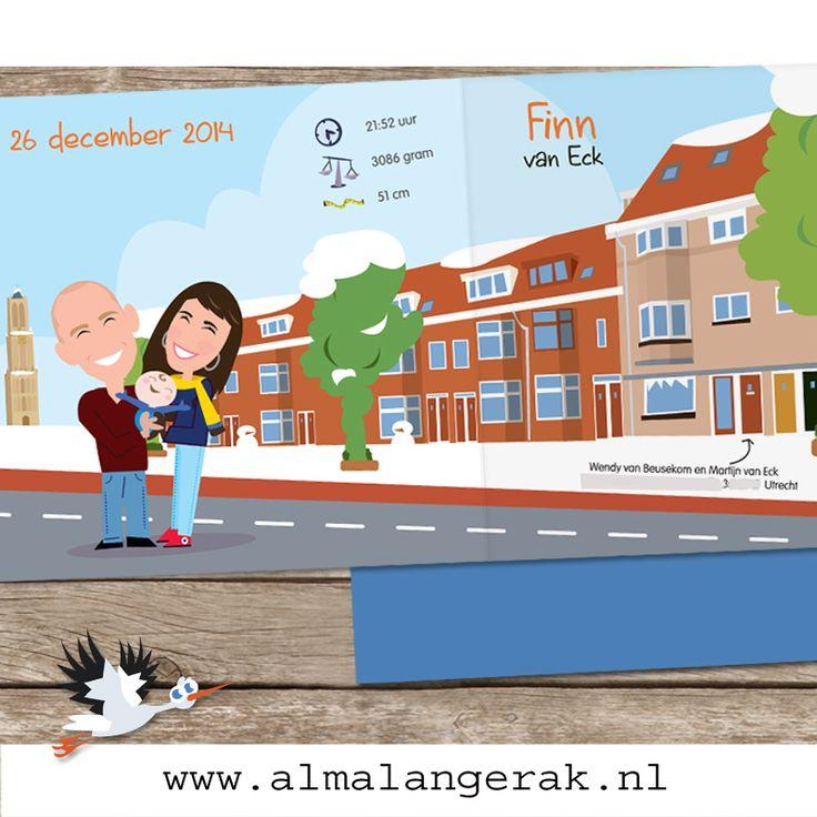 Hoera, Op 2e kerstdag is #Finn geboren en ik mocht de #maatwerk #geboortekaartjes maken.   Martijn en Wendy lieten niet alleen hun #huis natekenen, maar meteen de hele #straat en omdat zij in #Utrecht wonen ook de #Domtoren.   #Dom #cartoon #geboortekaartjes #sneeuw