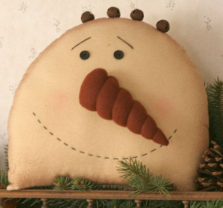 Christmas Winter Primitives ~ Snowman Head Pillow with Rusty Bells on sale!