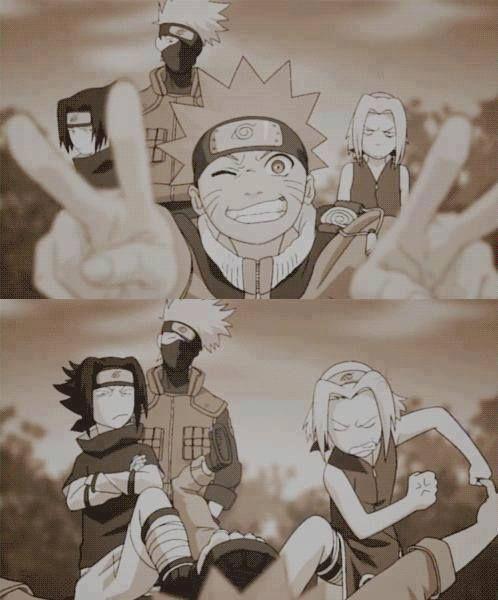 Anime/manga: Naruto (Shippuden) Characters: Sasuke, Kakashi, Naruto, and Sakura