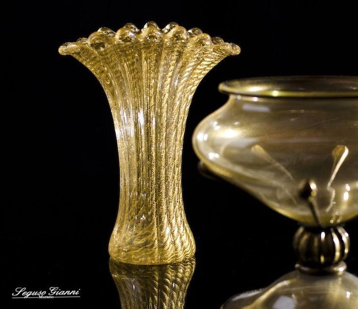 Murano glass - gold vases  #yourmurano #muranoglass #murano #vase #seguso