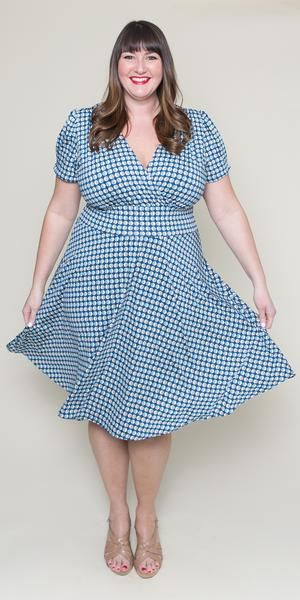 db20df7d48118 Plus Size Vintage Dress blue wrap top swing dress with sleeves