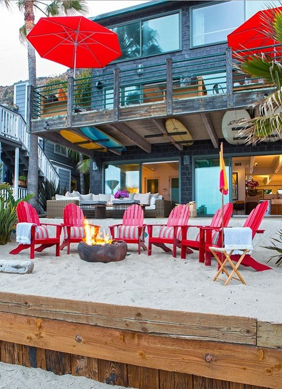 sophisticated surf shack...a departure to be sure, but that surf board storage and adirondack chairs had me at hello