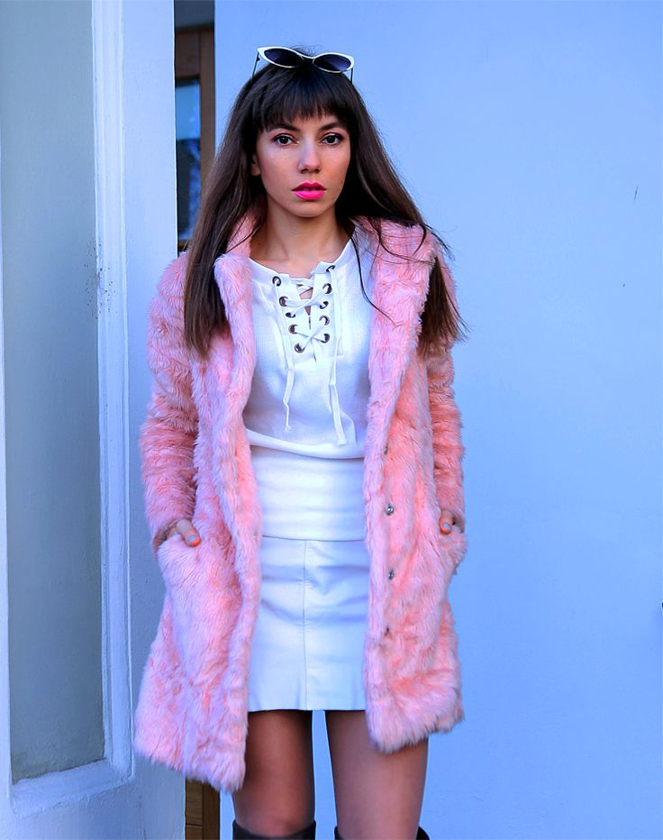 pastel pink faux fur, lace up top, white leather skirt and over the knee boots: https://jointyicroissanty.blogspot.com/2016/12/pastel-faux-fur-and-lace-up-top.html