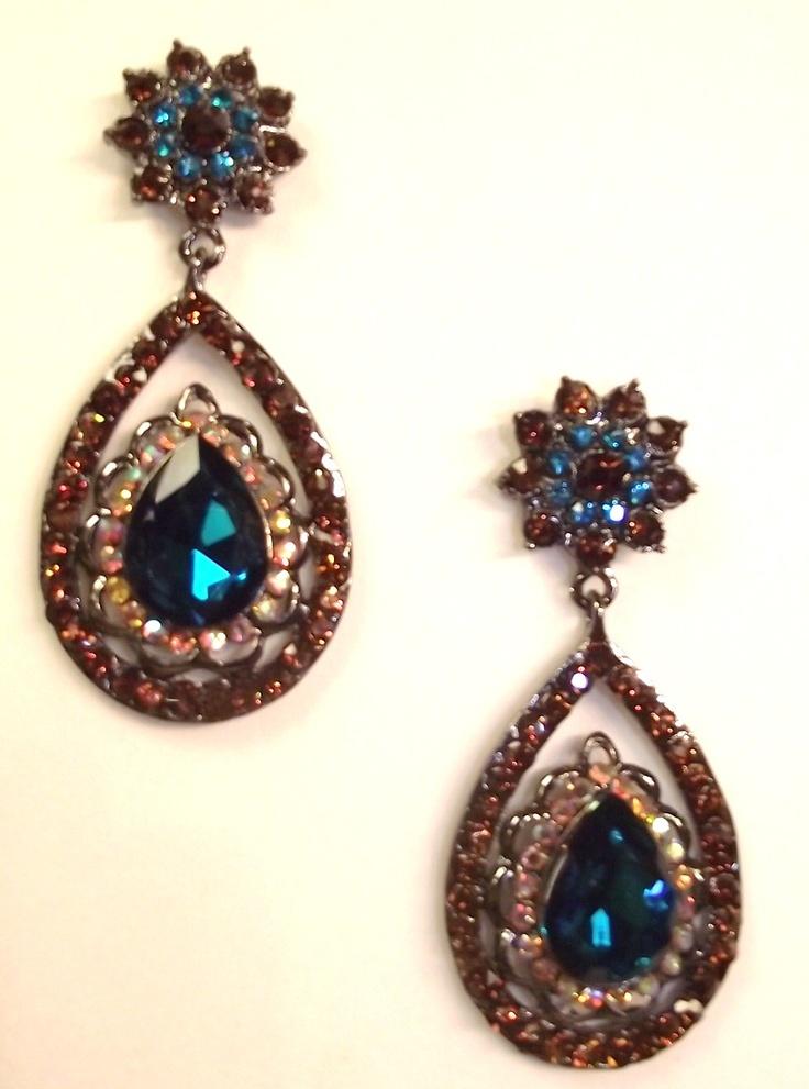 12 best chandelier earrings images on pinterest chandelier couture topaz teal swarovski crystals teardrop bridal earrings mozeypictures Images