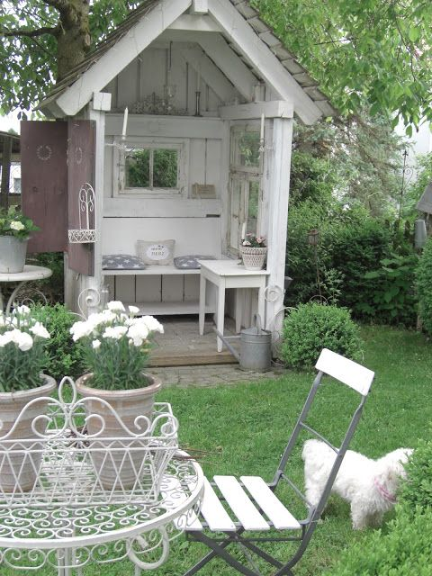"Salvaged wood windows, etc. Garden ""Shed"" really to cute to call it a shed!  :: Landliebe-Cottage-Garden"