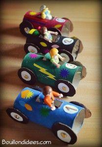 Voitures courses en rouleaux papier recyclés Bouillondidees1 208x300 Recyclez vos rouleaux de papier en voitures de courses !