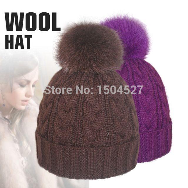 Шапки и зима трикотаж женщины шапочка шляпа с лисий мех пом англичане шерстяная ткань черный шляпы для девочки одежда аксессуары