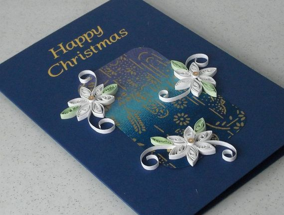 Handmade Christmas card - quilled, paper quilling    A beautiful quilled Christmas card with a message in gold foil reading Happy Christmas.