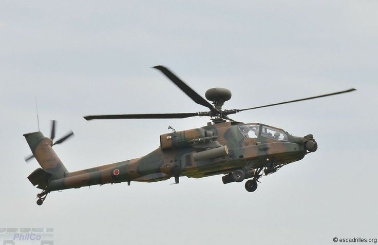 Japanese Ground Self Defence Force Fuji Boeing AH-64JP Apache Longbow attack helicopter. Locally licence built version.