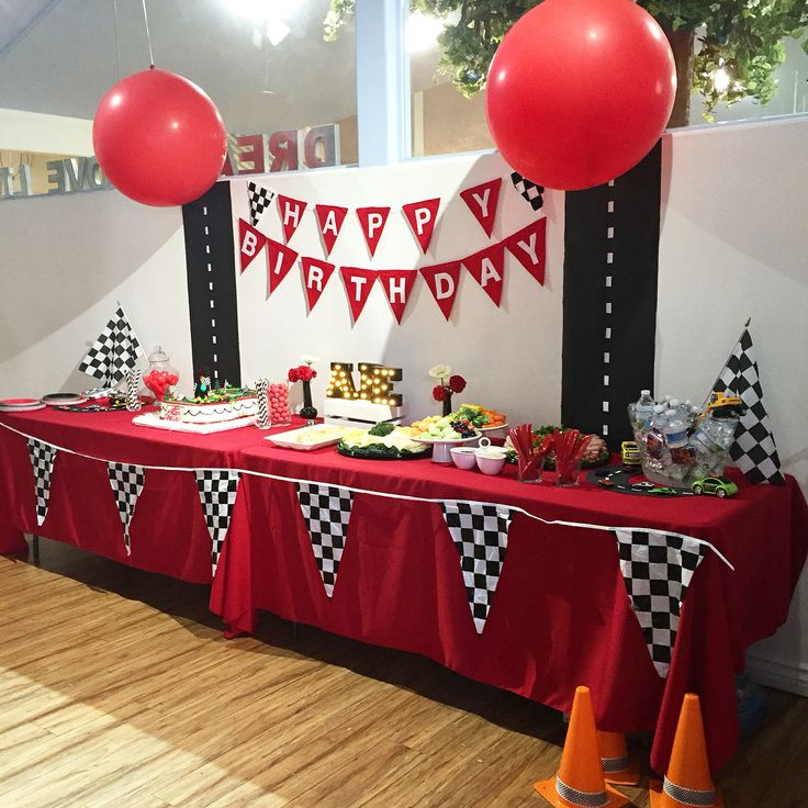 Cars Party Table decor - easily adapted to a Blaze theme with some flames!                                                                                                                                                                                 More