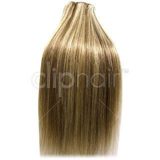20 Inch Double Wefted Full Head Remy Clip in Human Hair Extensions - Ash Brown/Blonde Mix (#9/613)
