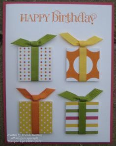 Birthday presents made from your favorite scraps of designer paper. Just add a bow!  The squares can be any size you like, just add the sentiment of your choice.  DIY Birthday card