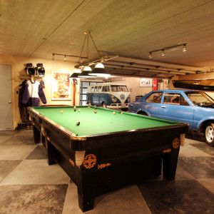 Underground garage, drive-in basement. Heated concrete floors made to look like tile!
