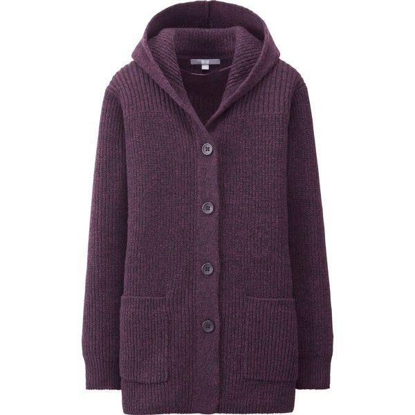 UNIQLO Women Heavy Gauge Hooded Coat (€18) ❤ liked on Polyvore featuring outerwear, coats, cardigans, jackets, wine, purple coats, heavy coat, hooded coat, uniqlo and uniqlo coats