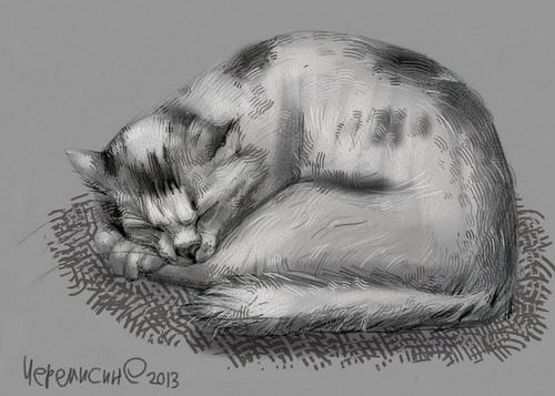 Сообщество иллюстраторов / Иллюстрации / Черемисин Сергей (Oges) / кот набросок