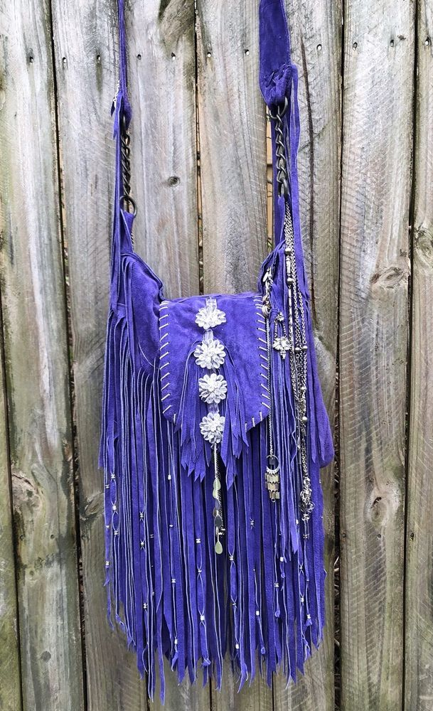 Handmade Han Purple Leather Fringe Bag Boho Hippie Gypsy OOAK Hobo Purse B.Joy | eBay
