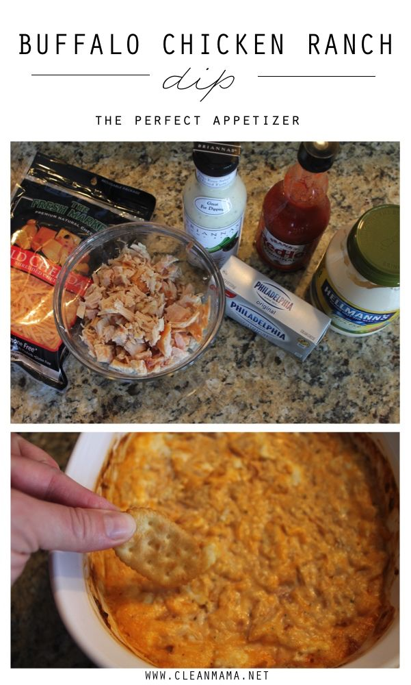 The PERFECT appetizer for gatherings and get-togethers! Buffalo Chicken Ranch Dip - Clean Mama