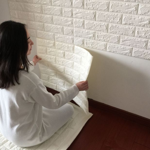 1 pc 77*70*10cm waterproof 3D TV setting wall brick grain wallpaper stickers #Dreamhouse