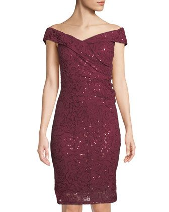 2dd5ec4906d5 Embroidered+Sequin+Off-the-Shoulder+Body+Con+Dress+by+Marina+at+Neiman+ Marcus+Last+Call.
