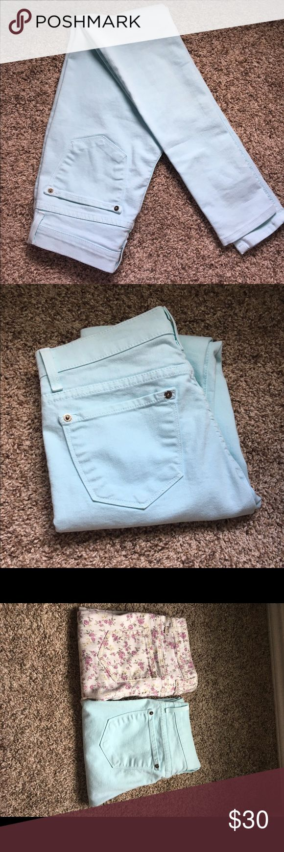 Light Blue Skinny Jeans - Size 26 Super skinny jeans, light blue, size 26. Barely worn! Made of soft denim with all white stitching. Make an offer! Jeans Skinny