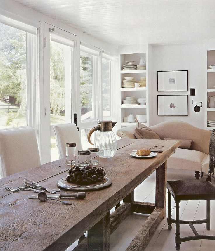 Picturesque Modern Farmhouse Interior Design With Rustic Unstained Wooden Long Dining Table Also Sweet White Fabric