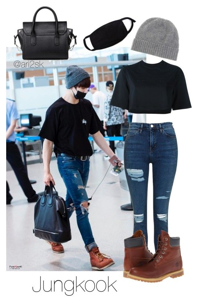 Airport with Jungkook ✖️✈️ by ari2sk on Polyvore featuring polyvore, fashion, style, NIKE, Topshop, Timberland, Jardin des Orangers and clothing