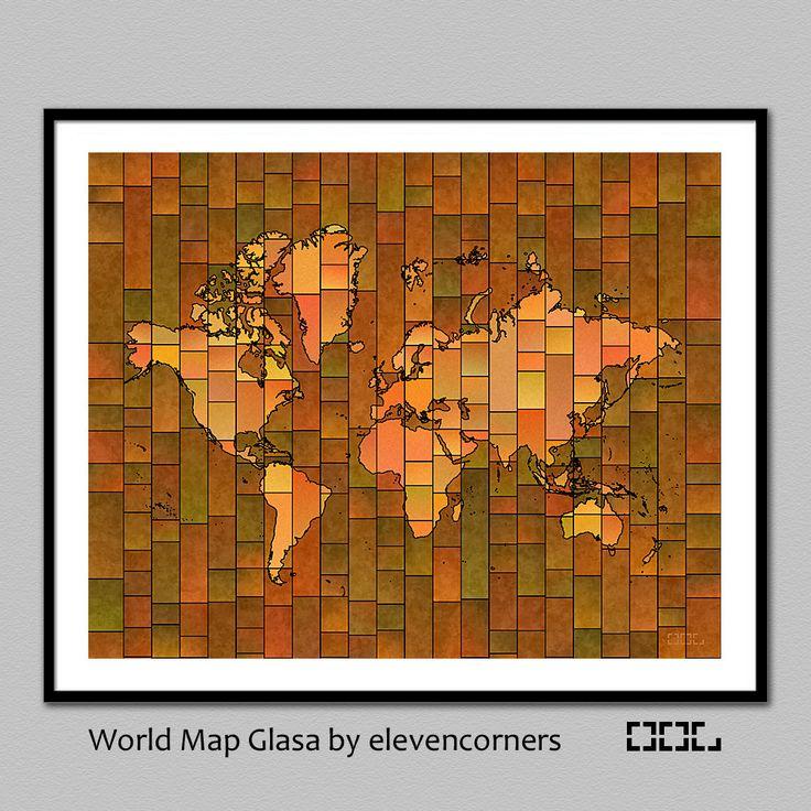 World Map Glasa - a map of the world wall art print by elevencorners - wall decor - brown, green, blue, red, orange, purple by elevencorners on Etsy #elevencorners #mapglasa