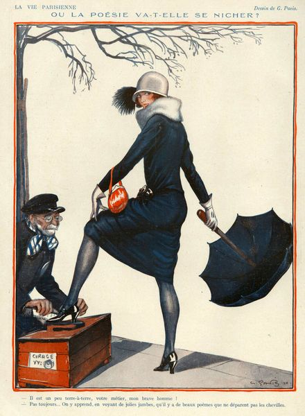 La Vie Parisienne, 1924, 1920s, France, Georges Pavis, illustrations erotica cleaning shoes umbrellas parasols womens hats shoe shine