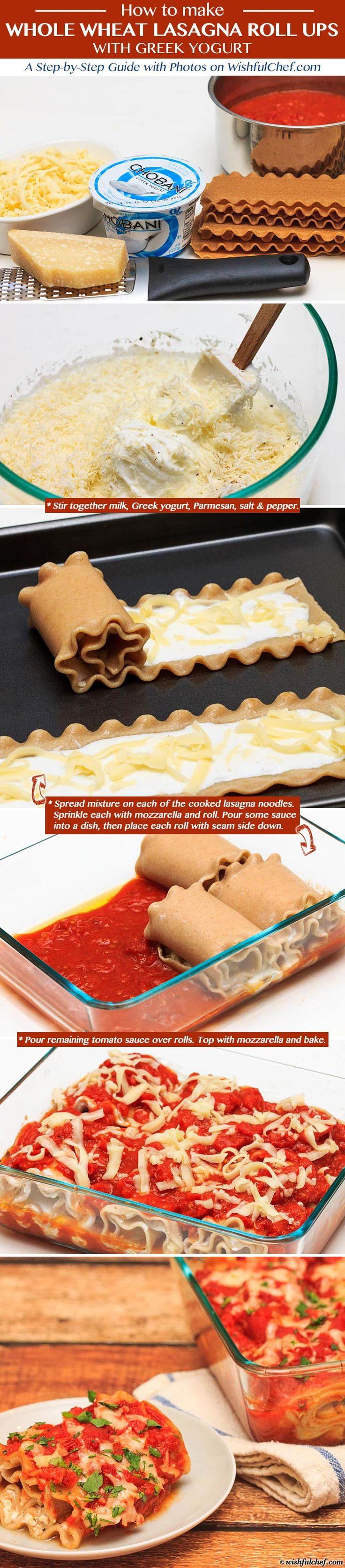 Whole Wheat Lasagna Roll Ups with Greek Yogurt // wishfulchef.com #step-by-step #lasagna