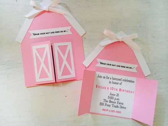 Rosa invitaciones granero granero invita por PinkPaperCottage