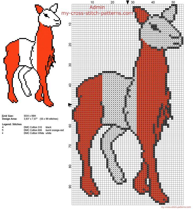 Peru llama colored with colors of Peru flag free cross stitch pattern