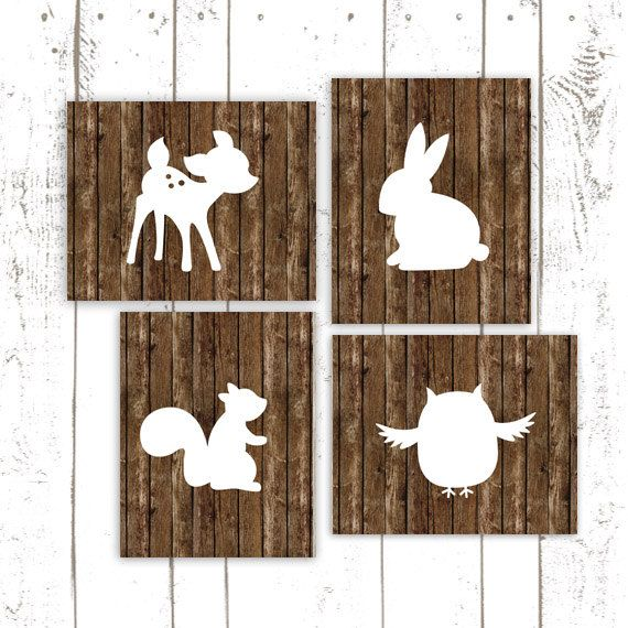 Wood Nursery Prints, Woodland Nursery, Owl, Bunny and Deer Prints, Rustic Art Prints, Set of Four on Etsy, $50.00