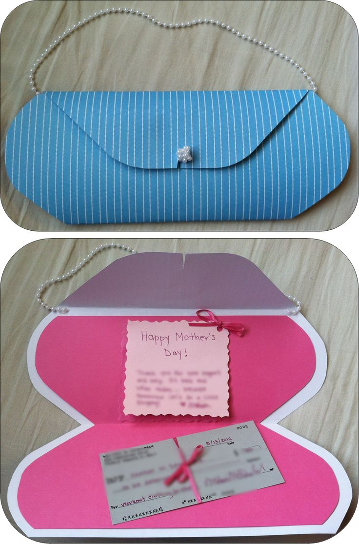 Homemade Mother's day card or any woman's birthday card -- blank check to go shopping! :)