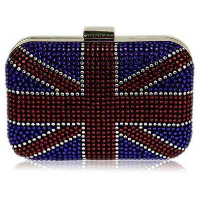 Union Jack Clutch Bag Beaded Box Handbag Evening Diamante Sparkly Purse HardCase