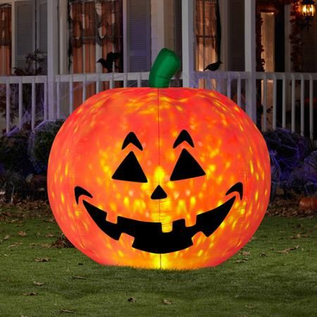 gemmy industries airblown halloween inflatable pumpkin fire and ice decoration - Halloween Inflatable Yard Decorations