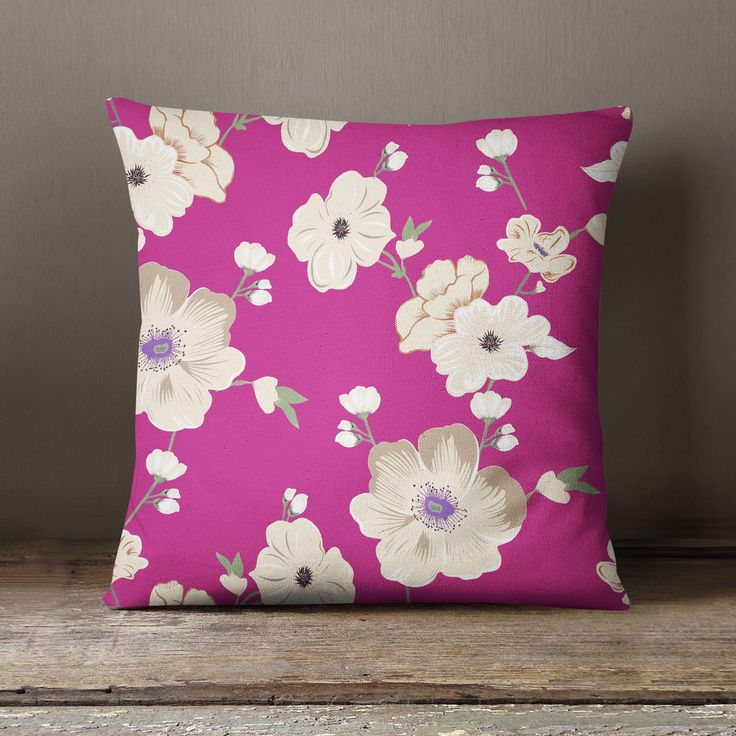S4Sassy Indian Sofa Cushion Cover Floral Printed Dark Pink Pillow Case