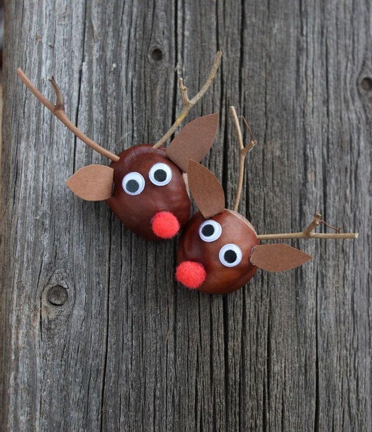 Rudolf das Rentier aus einer Kastanie und Zweigen basteln