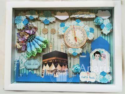 Mahar Nikah Scrap dengan nuansa biru dan islami. Tema dan desain dapat dicustom sesuai permintaan Anda. #maharpernikahan #maharnikah #maharsurabaya #maharunik #maharnikahsurabaya #surabaya #anariawedding