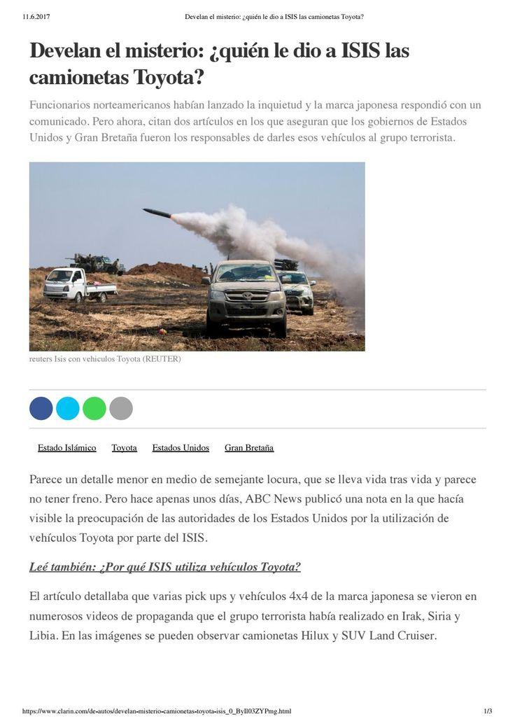 Develan el misterio: ¿quién le dio a ISIS las camionetas Toyota?