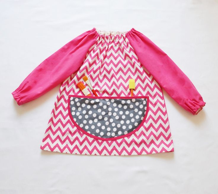 Kids Art Smock Long Sleeve Painting Apron Pink White Chevron Print Elastic Finishing Kindergarden Primary School Girls Tablier Ecole Filles by FrenchStarKids on Etsy