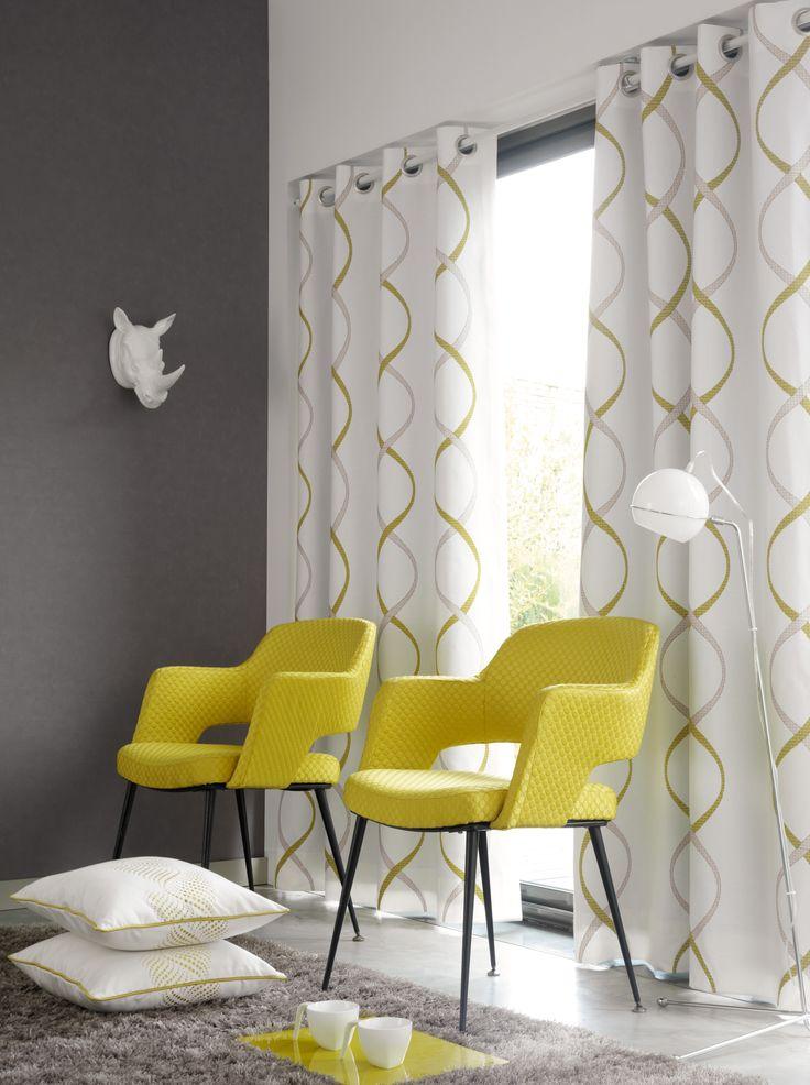 rideau jaune et gris 13 rideau motifs g om triques avec oeillets gris et jaune chargement. Black Bedroom Furniture Sets. Home Design Ideas