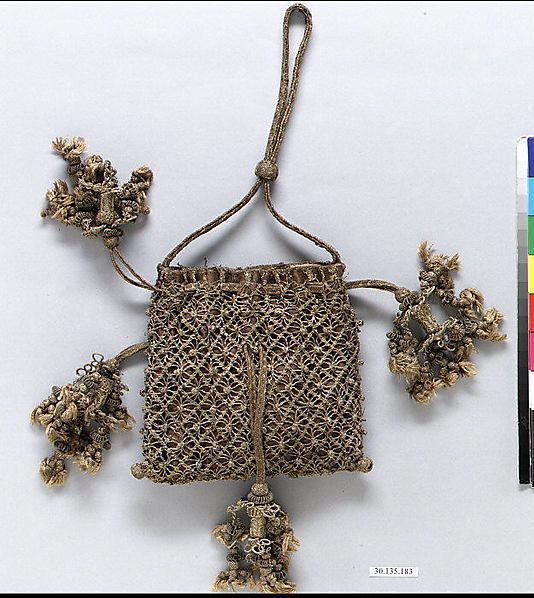 17th century Macramé Bag Date: 17th century Culture: Italian (?) Dimensions: H. 5 x W. 5 1/2 inches 12.7 x 14.0 cm Classification: Textiles-Laces-Macrame No Accession Number listed